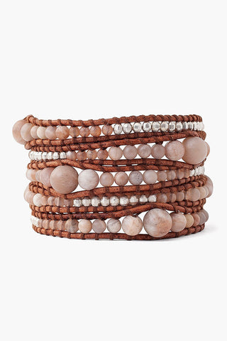 Sunstone and Silver Nugget Wrap Bracelet