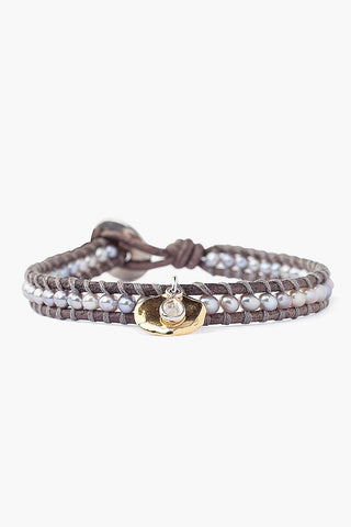 Grey Pearl and Coin Charm Single Wrap Bracelet