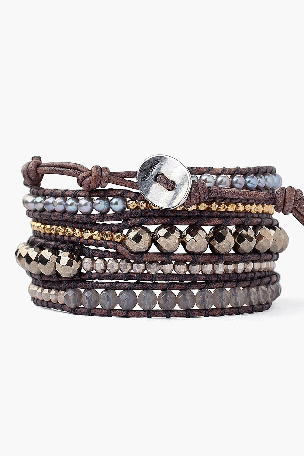 Grey Onyx Mix Wrap Bracelet