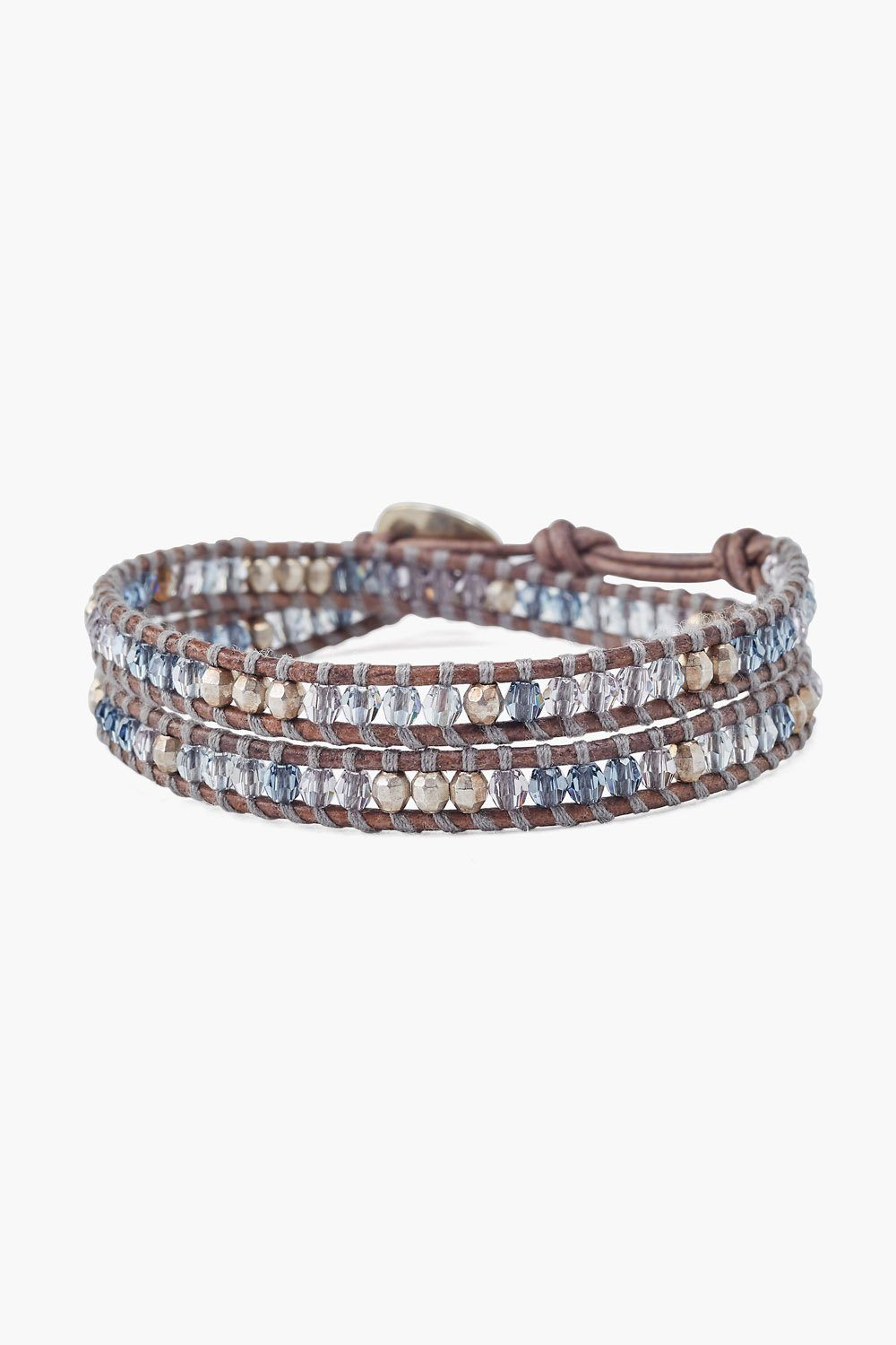 Blue Shade Mix Double Wrap Bracelet