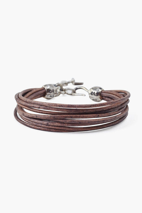Natural Grey Multi Strand Leather Bracelet