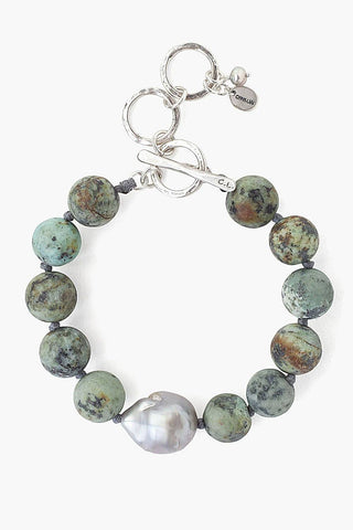 Matte African Turquoise and Grey Baroque Pearl Bracelet