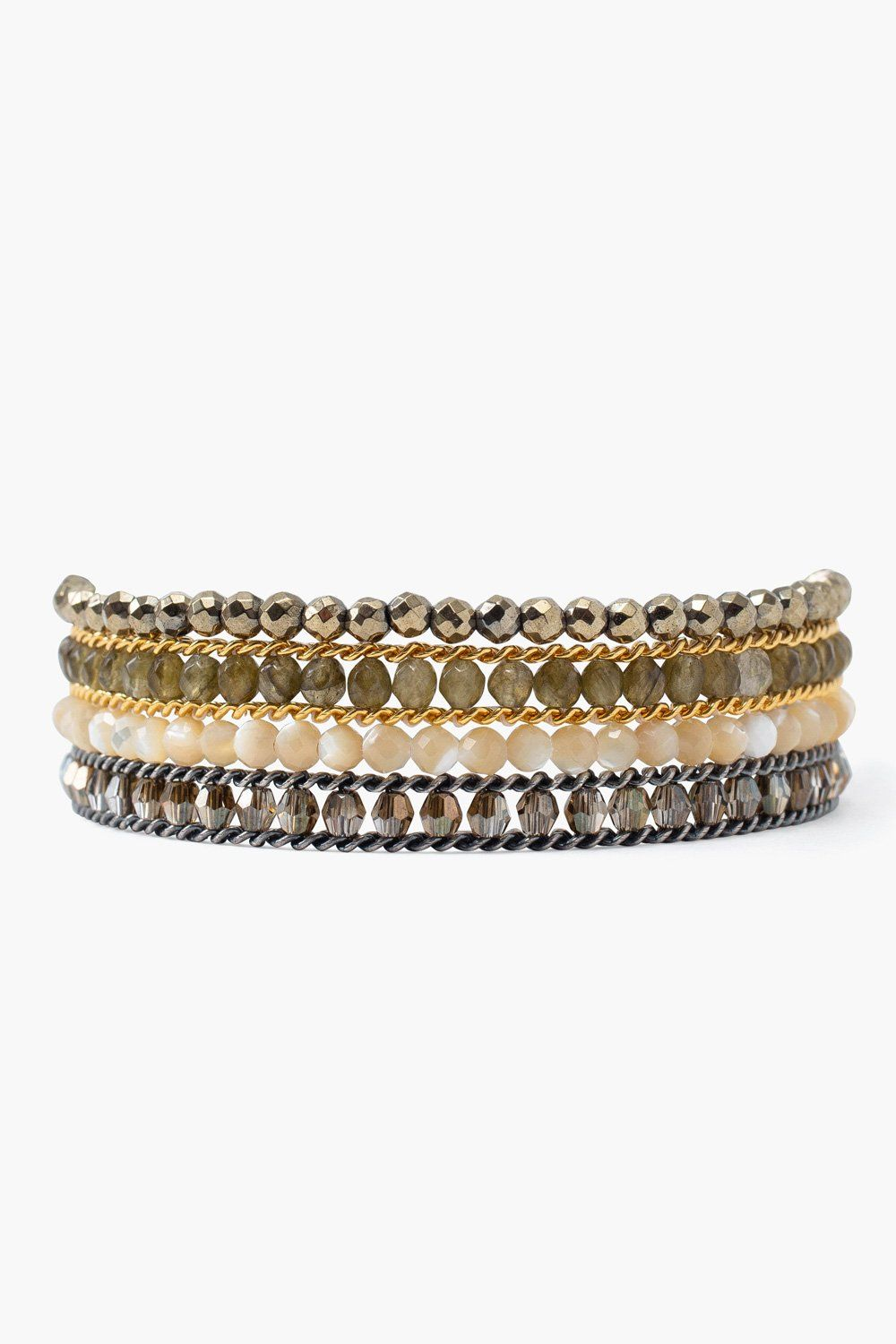 Labradorite Mix Chain Wrap Bracelet