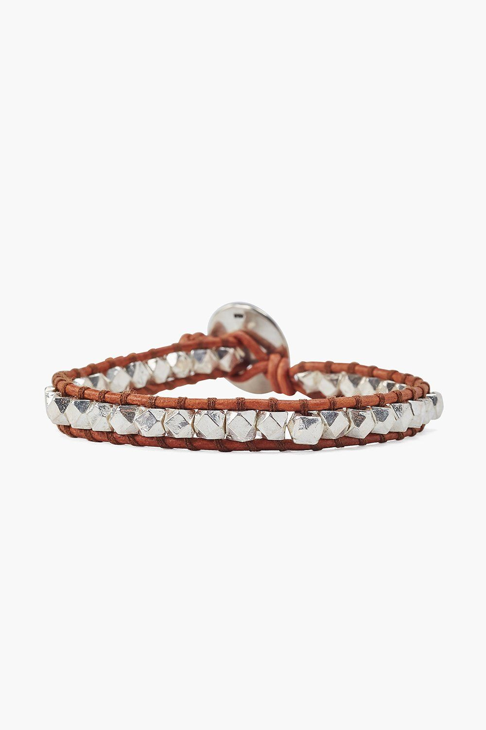 Silver and Natural Brown Leather Single Wrap Bracelet