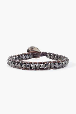 Silver and Natural Grey Leather Single Wrap Bracelet