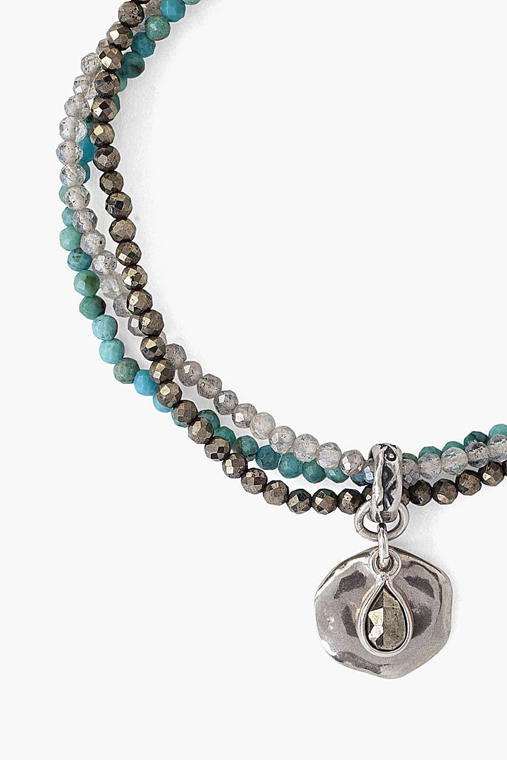 Turquoise Mix and Coin Charm Multi-Strand Bracelet