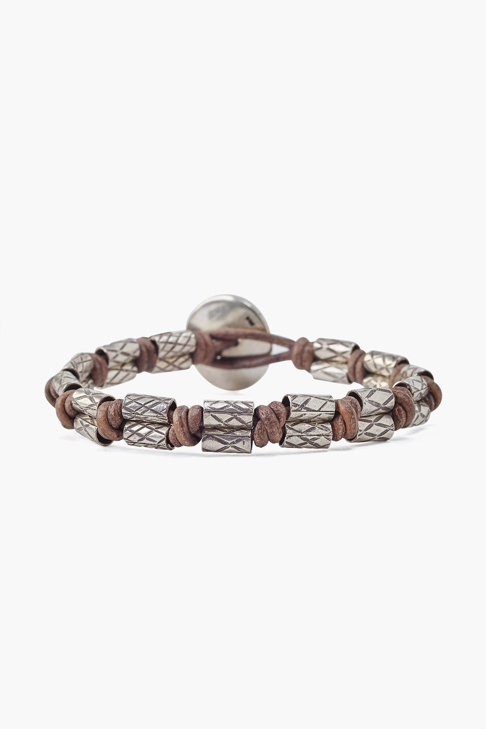 Etched Silver Heishi Single Wrap Bracelet on Natural Grey Leather
