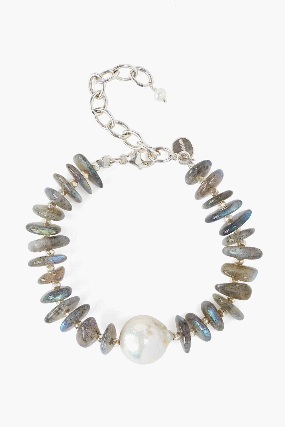 Baroque Pearl and Labradorite Chip Bracelet