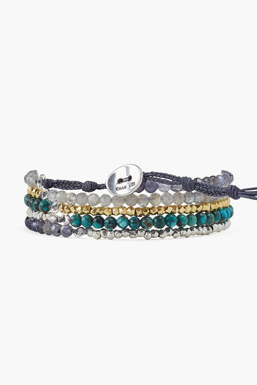 Compressed Turquoise Mix Naked Five Wrap Bracelet