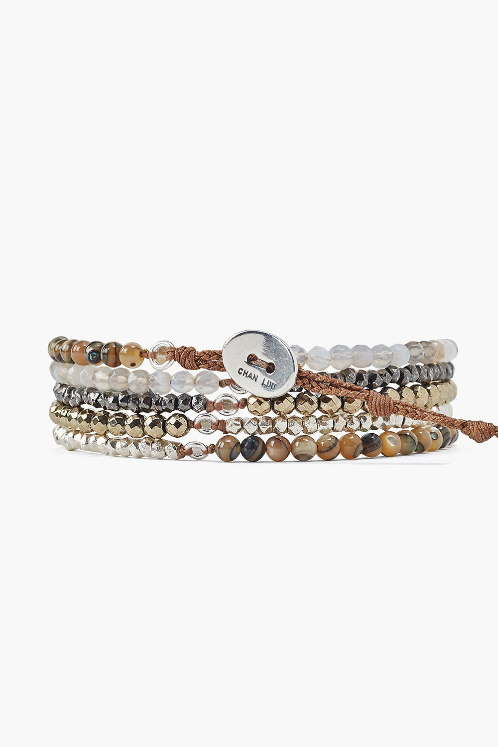 Pyrite Mix Naked Five Wrap Bracelet