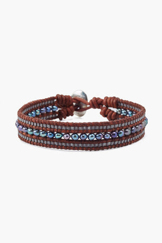 Peacock Blue Pearl Single Wrap Bracelet