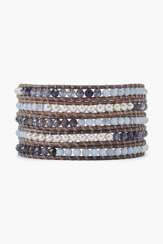 Iolite and Pearl Mix Wrap Bracelet