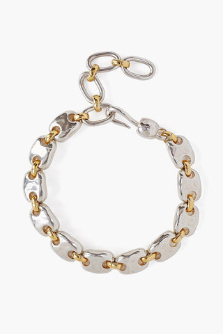 Gold and Silver Mix Puff Chain Bracelet
