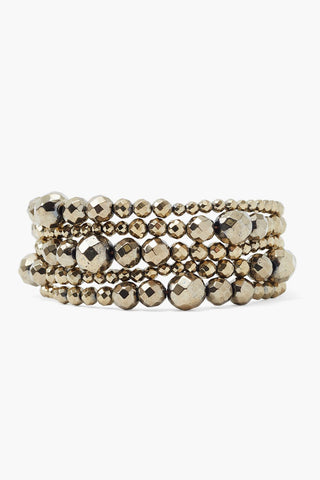 Pyrite Graduated Naked Wrap Bracelet