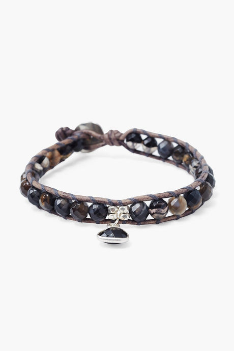Black Sardonyx Single Wrap Bracelet with Tear Drop Charm