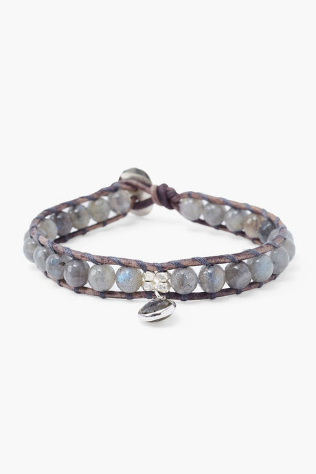 Labradorite Single Wrap Bracelet with Tear Drop Charm
