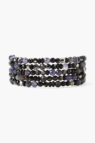 Black Sardonyx and Crystal Naked Wrap Bracelet