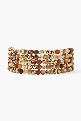 Brown Sardonyx and Crystal Naked Wrap Bracelet