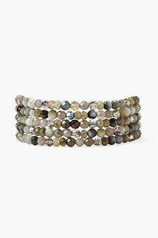Cat's Eye and Crystal Naked Wrap Bracelet