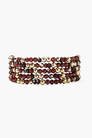 Garnet and Crystal Naked Wrap Bracelet