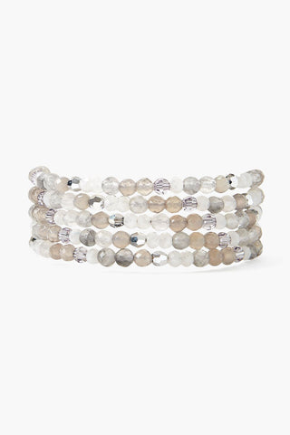 Grey Onyx and Crystal Naked Wrap Bracelet