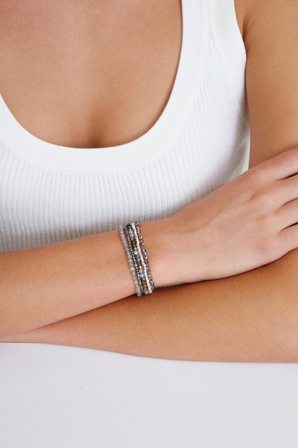 Grey Labradorite Mix Naked Wrap Bracelet