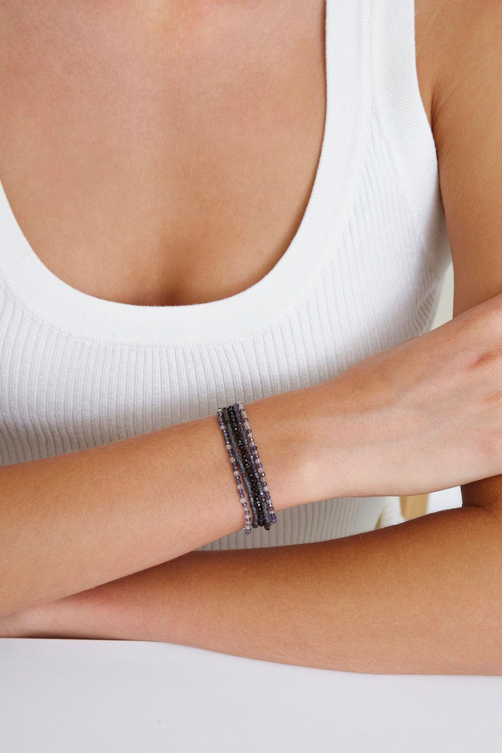 Black Spinel Mix Naked Wrap Bracelet