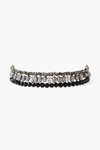 Black Onyx and Grey Pearl Naked Wrap Bracelet