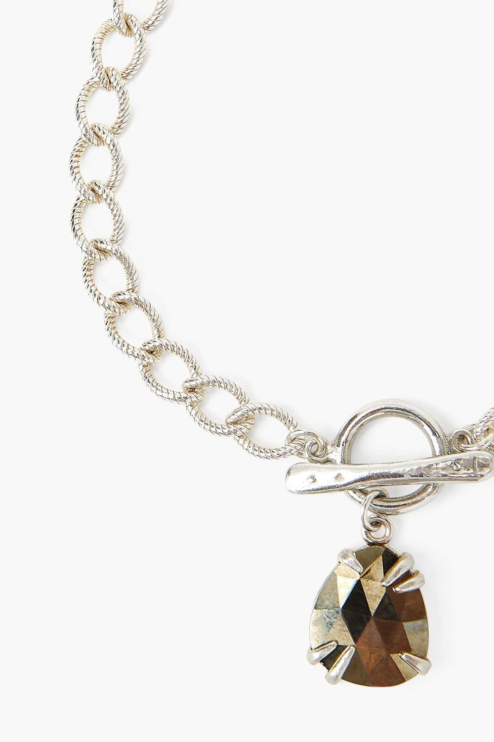 Pyrite and Pearl Cable Chain Bracelet