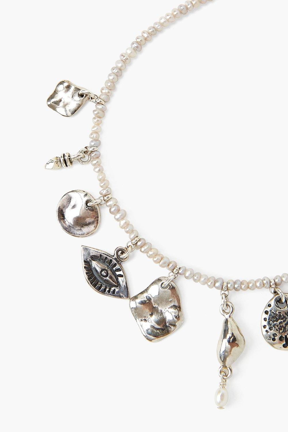 Grey Pearl and Silver Charm Bracelet