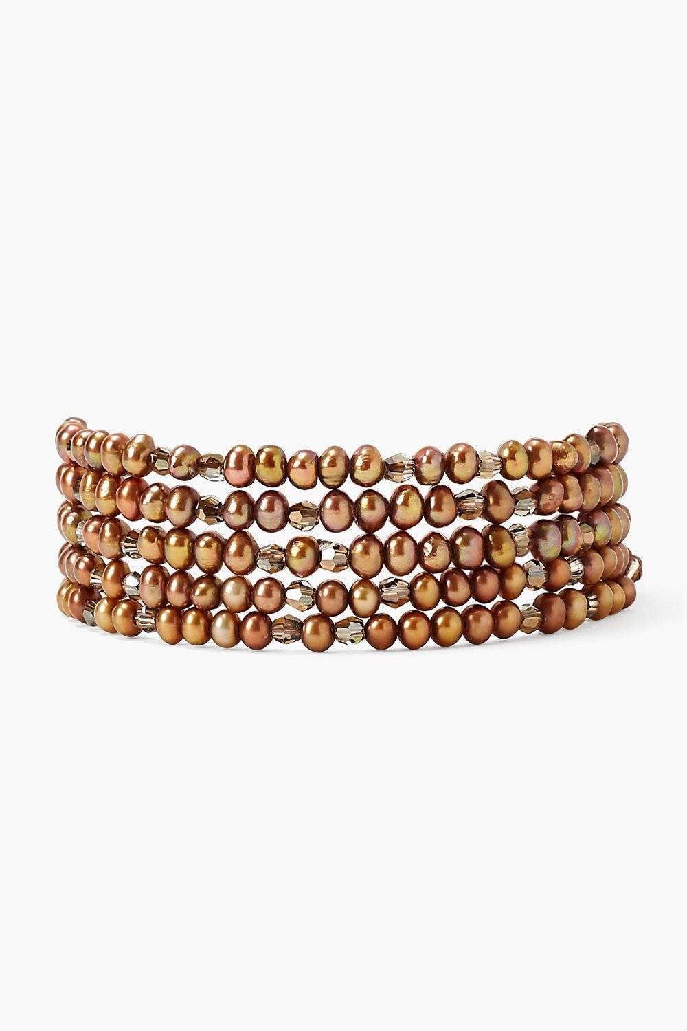 Bronze Pearl and Crystal Naked Wrap Bracelet