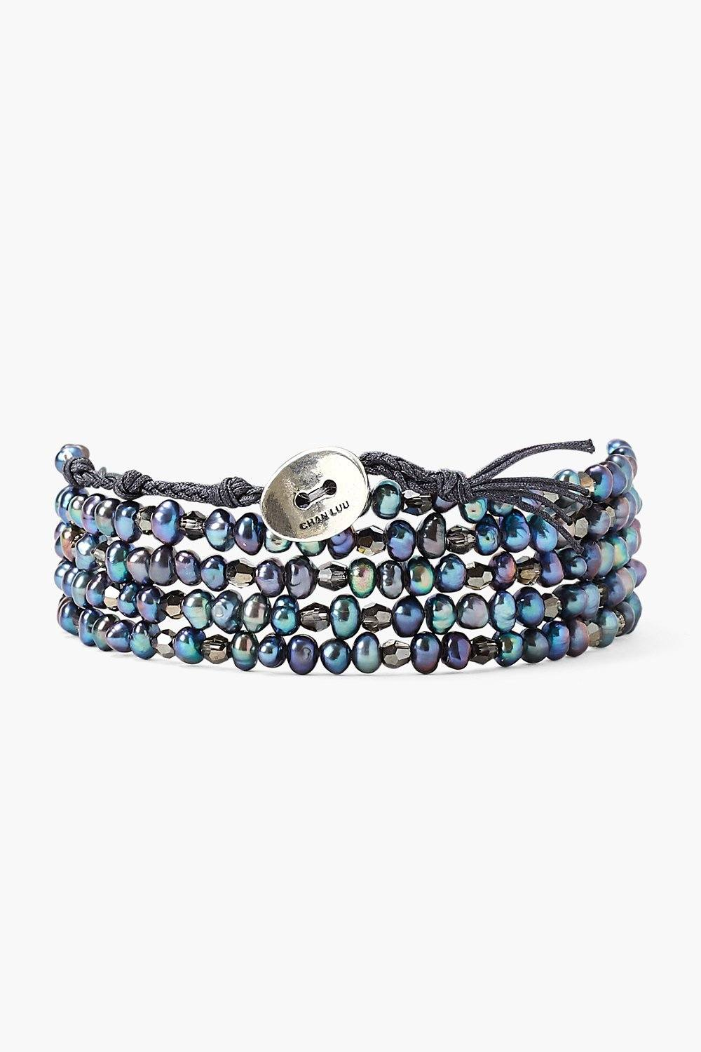 Blue Pearl and Silver Crystal Naked Wrap Bracelet