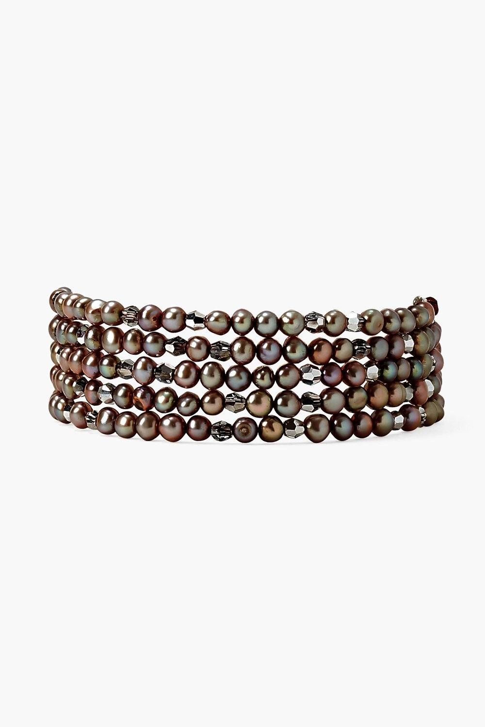 Taupe Pearl and Crystal Naked Wrap Bracelet