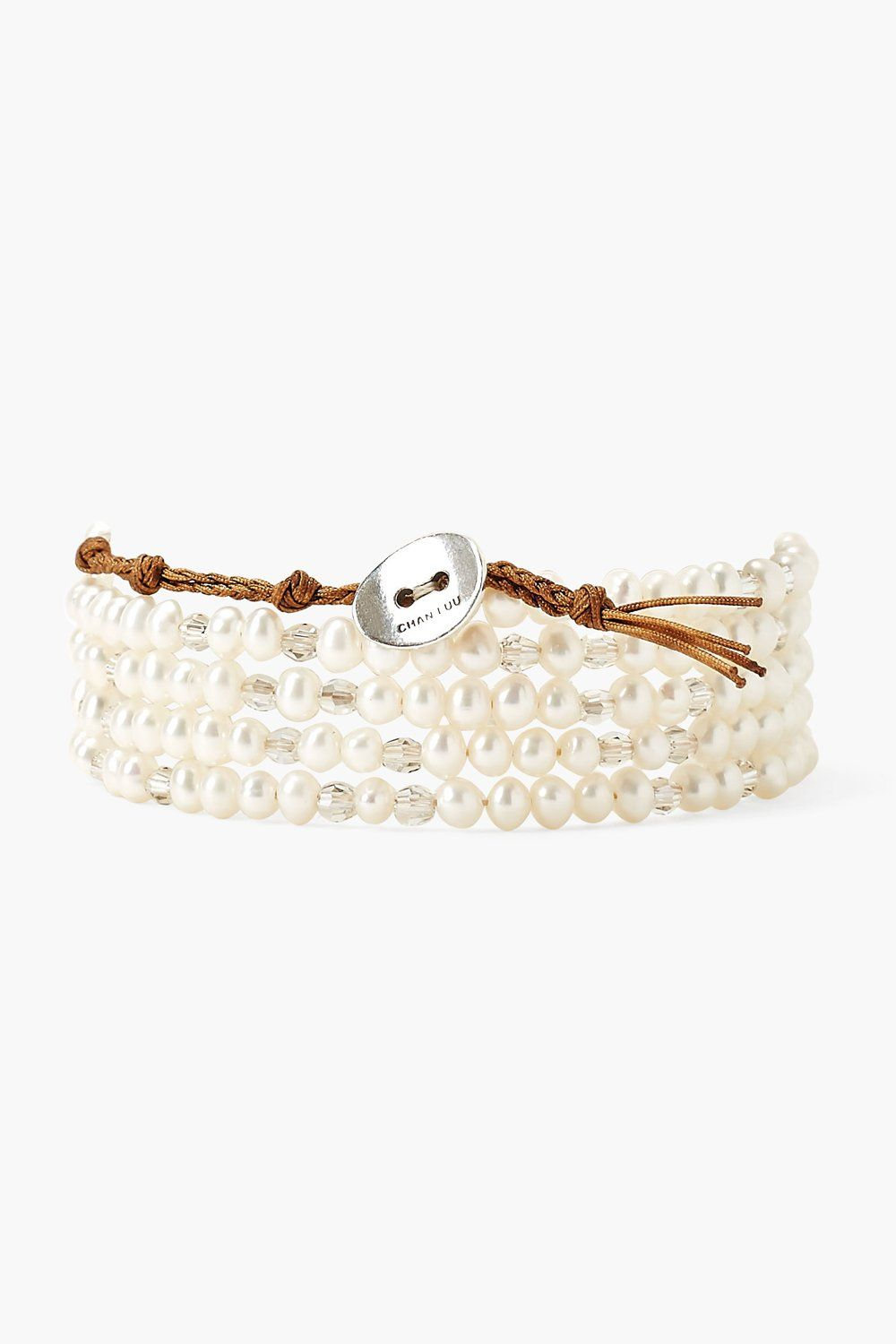 White Pearl and Crystal Naked Wrap Bracelet