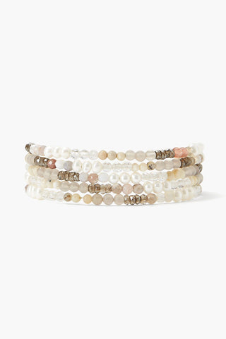 White Pearl Mix Gradient Naked Wrap Bracelet