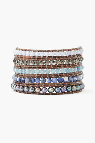 Peacock Blue Pearl and Aquamarine Mix Wrap Bracelet