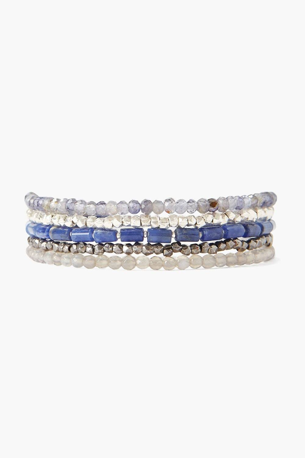 Sodalite and Silver Mix Wrap Bracelet