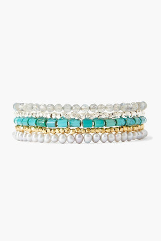 Turquoise and Metallic Mix Wrap Bracelet