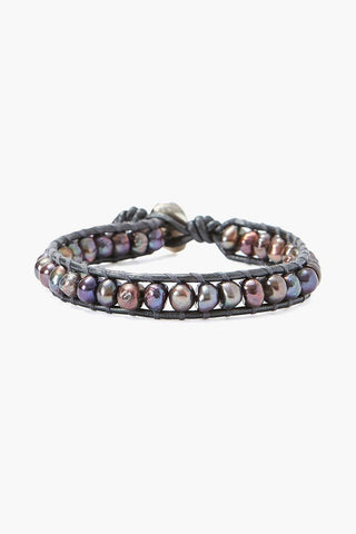 Peacock Brown Pearl and Gunmetal Leather Single Wrap Bracelet