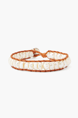 White Pearl and Natural Leather Single Wrap Bracelet