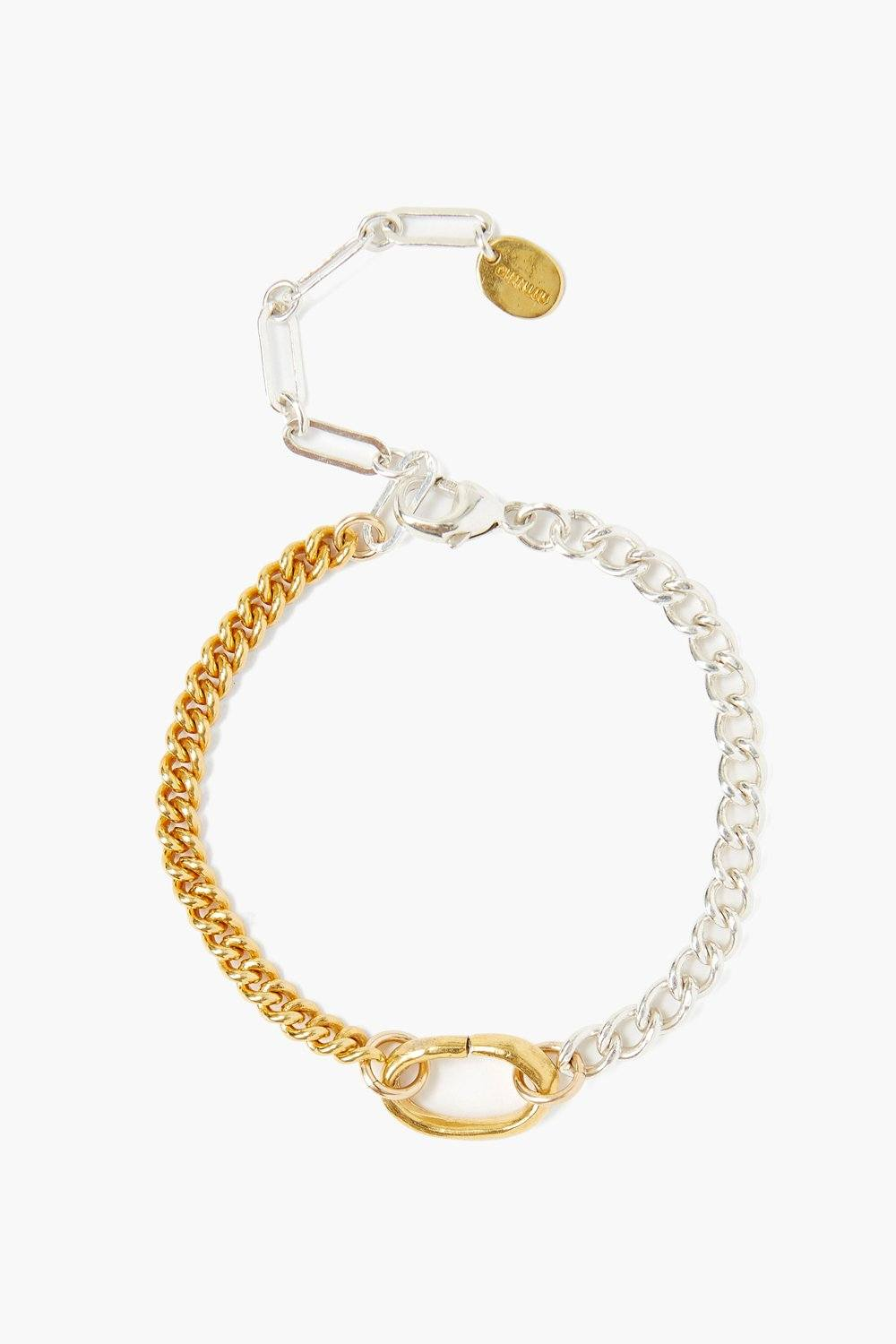 Sculptural Ring Gold and Silver Chain Link Bracelet