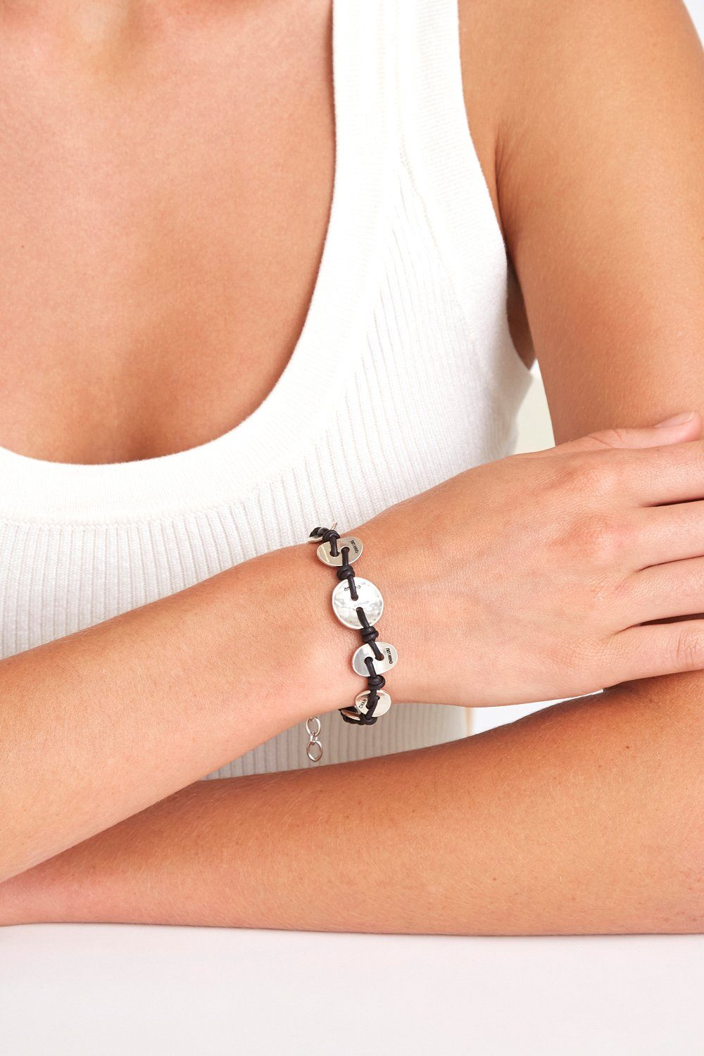 Silver Button and Black Leather Bracelet