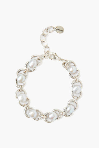Grey Baroque Pearl and Silver Chain Bracelet