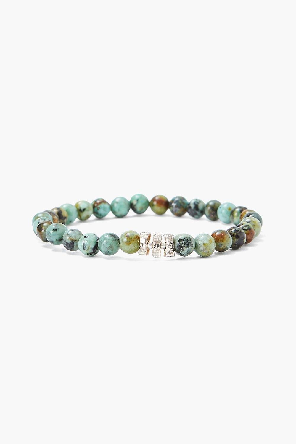 African Turquoise and Etched Silver Stretch Bracelet