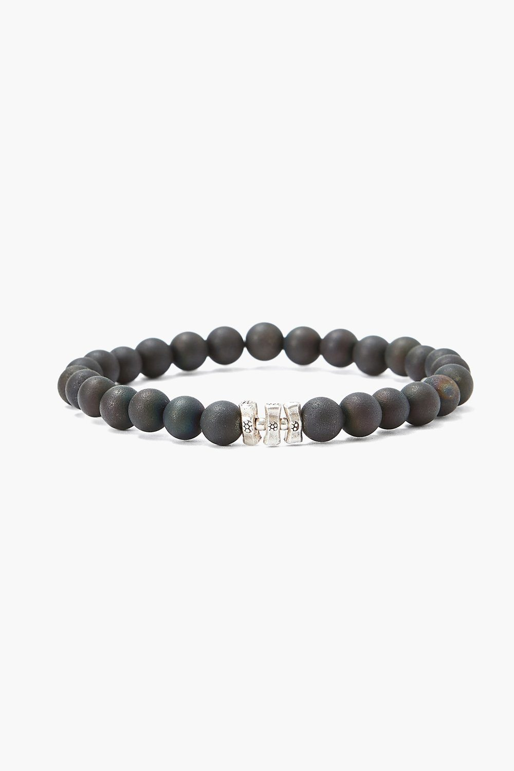 Black Druzy Agate and Etched Silver Stretch Bracelet