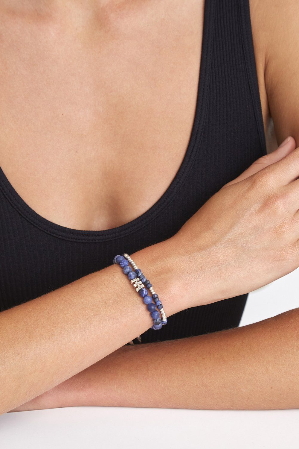 Blue Sodalite and Etched Silver Stretch Bracelet