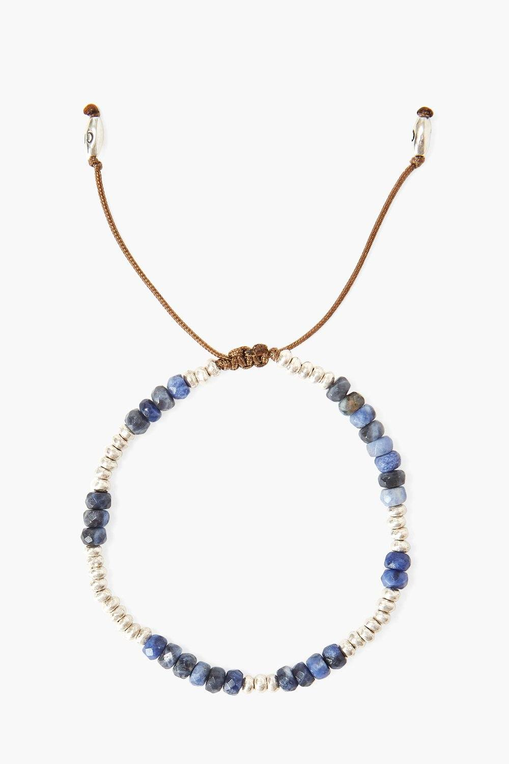 Blue Sodalite and Silver Bead Bracelet