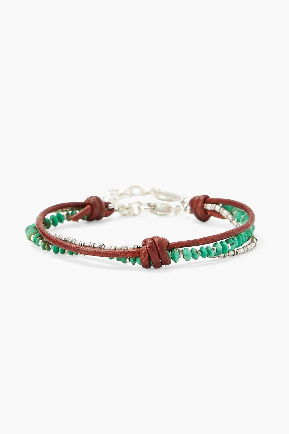 Green Turquoise and Silver Bead Bracelet