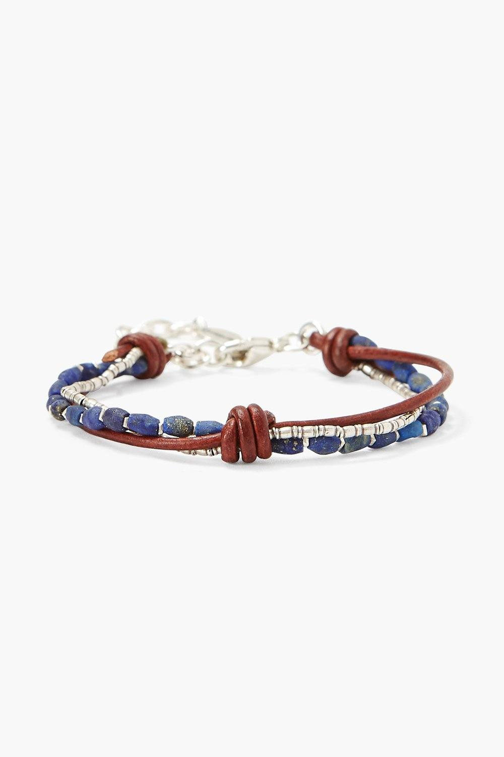 Lapis and Silver Bead Bracelet