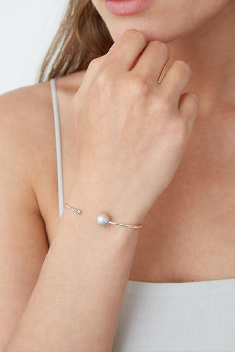 Grey Pearl Diamond Cuff